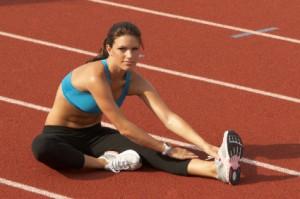Alan Stewart's Girlfriend stretching before a race