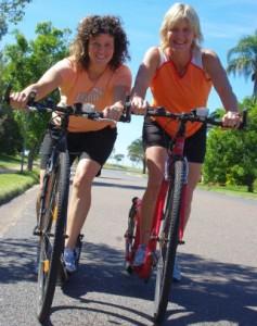 Kerrie and Sharon footbiking