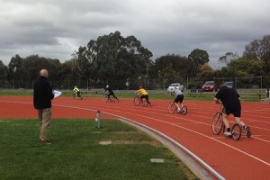 Victoria Shows Off at Footbike Race