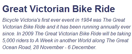 Kickbike Plans for the Great Vic Ride
