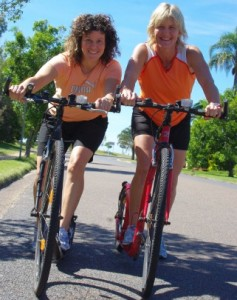 Kerrie and Sharon footbiking